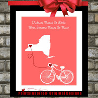 Mother's Day Gift Mom Birthday Distance: Custom Bicycle Print ANY Quote & Colors Long Distance Relationship Gift Print Home Decor Wall Art