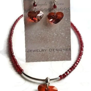 Crystal Heart Necklace and Earring set, Garnet red, Sterling silver. Matching Earrngs