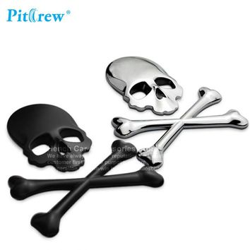 Car Motorcycle Sticker 3D Skull Metal Skeleton Crossbones Label Skull Emblem Badge car styling Stickers Accessories