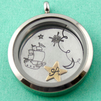 Peter Pan Necklace - Second Star to the Right Floating Locket Set - Living Locket - Memory Locket Disney