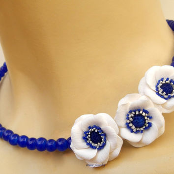 Blue necklace - Anemone - Windflower - Flower necklace -  Minimal necklace - Handmade necklace