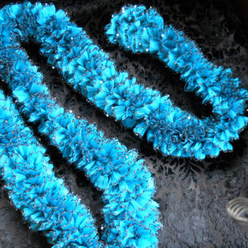 Knit Scarf . Handmade in shades of blue. Beautiful Accessory . Ready to ship