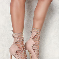 Nude Lace Up Pointed Toe Heels