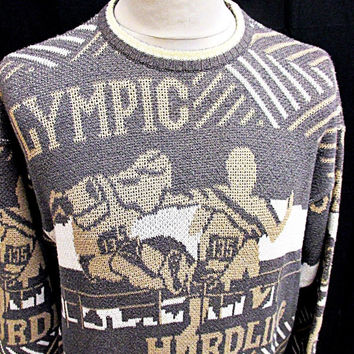 Vintage 90s Olympic Hurdler Hipster Bohemian Jumper Sweater Hip Cat Medium