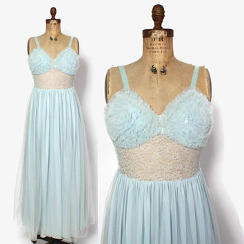 Vintage 60s Ruffled Nightgown / 1960s Pale Blue Chiffon & Lace Full Length Nightie