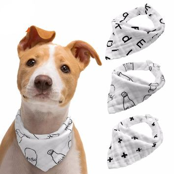 Bandana White Dogs Scarf Cotton