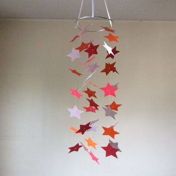 Nursery mobile, Red, Orange and white Shooting Stars paper mobile. Baby mobile, Baby Nursery mobile, Crib mobile, Modern decor, Birthday