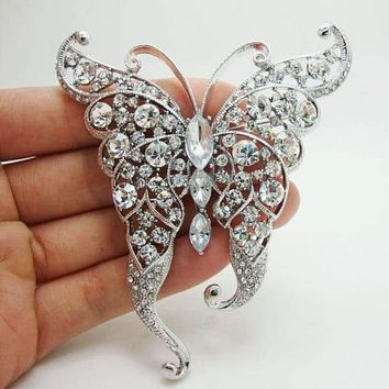 Crystal Butterfly Brooch Fashion Clear Rhinestone Crystal Butterfly Insect Brooch Pin
