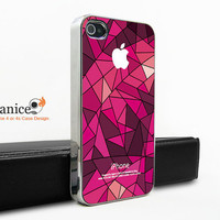 silvery  case for iphone in case Iphone 4s case purple style check design iphone 4 case iphone 4s case iphone 4 cover