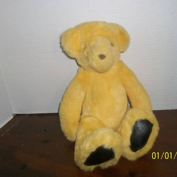"1992 victoria's secret gund yellow teddy bear plush 14"" tall"