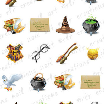 20 Assorted HARRY POTTER WIZARD Assortment Water Slide Nail Art Decals Harry Potter Nail Decals
