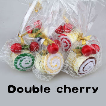 Hot sale Lovey soft With Two Cherry Top Decor Roll Cotton Cake Towel   MTY3