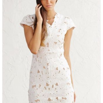 White floral lace dress with nude liner and open back | Dana | escloset.com