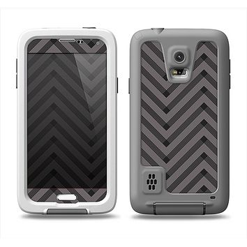 The Gray & Black Sketch Chevron Samsung Galaxy S5 LifeProof Fre Case Skin Set