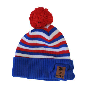 Fiendish Pom Pom Beanie in Red, White, and Blue-Tapiture Exclusive