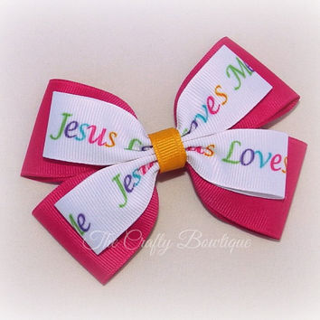Jesus Loves Me Bow ~ Large Church Bow ~ Hot Pink & White Bow ~ Layered Church Bow ~ VBS Hair Bow ~ Sunday School Bow ~ Church Headband Bow