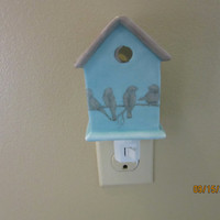 Birdhouse Night Light, Porcelain Ceramic Pottery, Hand Painted & Kiln Fired by B. Marsh