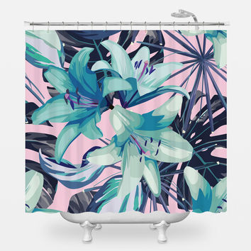 Neon Flowers Shower Curtain