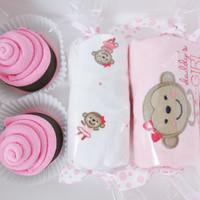 Baby Girl Gift Washcloth Cupcakes Candies Box 12 month monkey