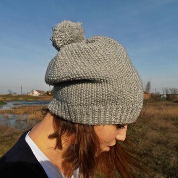 Womens Hats, Knit Hat, Winter Hat, Pom Pom Hat, Pom Pom Beanie, Grey Hat, Beanie Hat, Glitter Hat