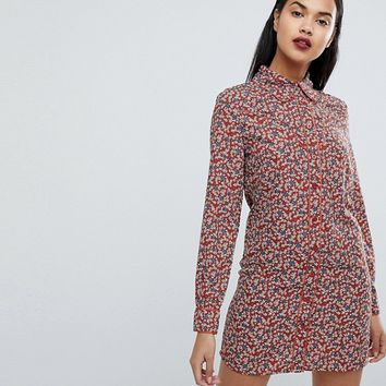 Fashion Union Western Shirt Dress In Country Rose Print at asos.com