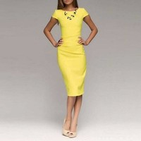 Yellow O-Neck Short Sleeve Cocktail Dress