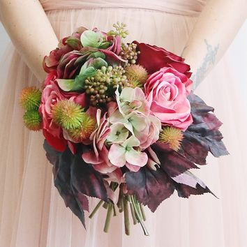 "Rose & Hydrangea Fall Silk Wedding Bouquet in Mauve Green - 14"" Tall x 14"" Diameter"