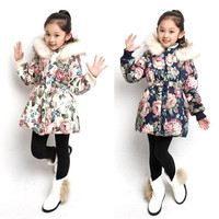 2015 New Fashion Outerwear Children Girls Flower Print  Winter Coat Long Sleeve Warm Jackets = 1929995332