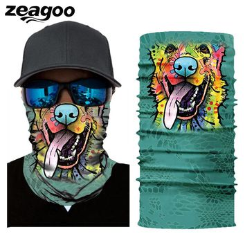Zeagoo 3D Seamless Balaclava Magic Scarf Mask Ghost Animals Print Head Bandana Face Shield Headband Bandana Men Bicycle Headwear