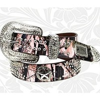 "Montana West Pink Camo Western Rhinestone Texas Star Belt Genuine Leather (Medium (34"" - 38"" holes))"