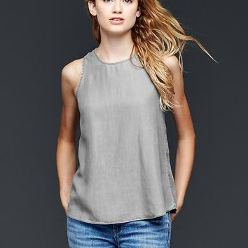 Gap Women 1969 Tencel ; Grey Denim Sleeveless Keyhole Top