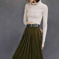 Silence + Noise Silky Pleated Midi Skirt
