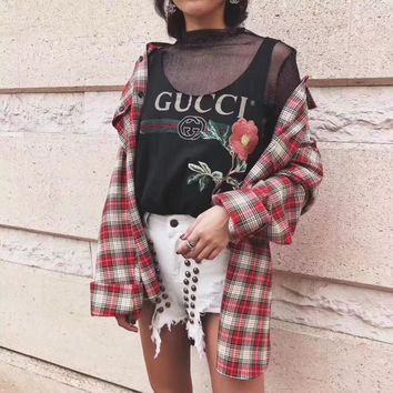 """""""Gucci"""" Women Loose Casual Flower Embroidery Letter Logo Print Sleeveless Vest T-shirt Tops"""