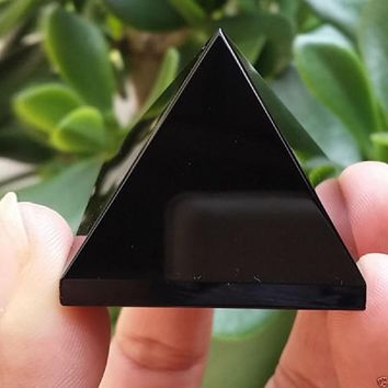 Pyramid Healing Black Natural Obsidian Crystal Beautiful Lustrous Surface