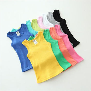 Children T Shirts Kids  Summer Style Boys Girls Clothes Vest Cotton Casual Sleeveless kids T Shirts Sport Vests Out Wear