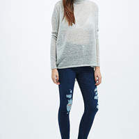 Light Before Dark Ripped Super High-Rise Skinny Jeans in Navy - Urban Outfitters