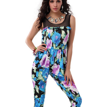Mesh Embroidered Floral Sleeveless Jumpsuit