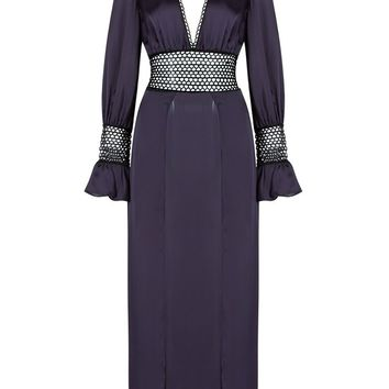 Honey Couture SHENAY Navy Lace Detail Long Sleeve Maxi Dress