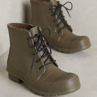 Hunter Lace-Up Booties Swamp Green