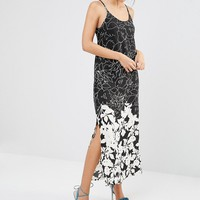 Daisy Street A Line Maxi Dress In Mono Illustrated Floral Print at asos.com