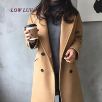 2017 New Spring Woolen Coat Trench Women Slim Double Breasted Black Winter Coats Long Outerwear for Women