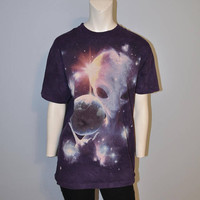 Vintage 1990's Alien T-Shirt Purple Tie Dye The Mountain Size M Short Sleeve Tee Shirt Tall Grey Space Hipster Tshirt Galaxy Planet Earth