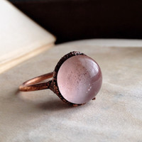 Pink Orb Glass Ring - Size 8
