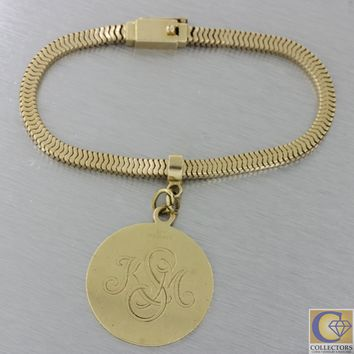 1940s Antique Art Deco Tiffany & Co. 14k Yellow Gold Snake Chain Charm Bracelet