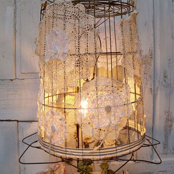Large repurposed wire basket light from anitasperodesign for Doily light fixture
