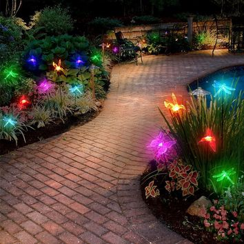 3PC Spring Theme Color Changing LED Solar Light Stakes