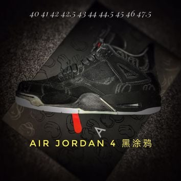 KAWS X Air Jordan 4 is Sample black graffiti