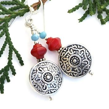 Southwest Floral Earrings Red Coral Blue Czech Glass Handmade Jewelry