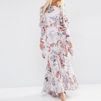 ASOS Cold Shoulder Long Sleeve Ruffle Maxi Dress In Gray Floral