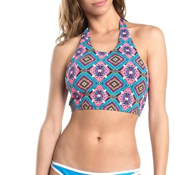 Tribal Print Halter Two Piece Swimsuit Set
